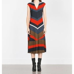 Zara Basic Wide Stripe V-Neck Long Dress
